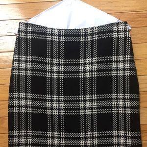 Talbots Wool Pencil Skirt Black White Plaid 2